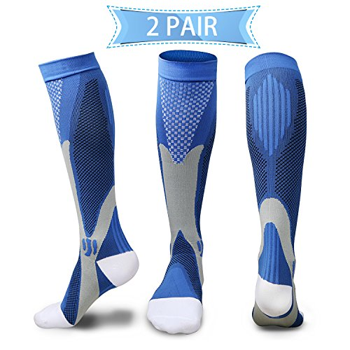 Compression Socks for Men & Women(2 Pairs), BEST Medical Grade Graduated Recovery Stockings for Nurses, Boost Stamina, Varicose, 20-30 Mmhg Fit for Running, Medical, Flight Travel (Blue)