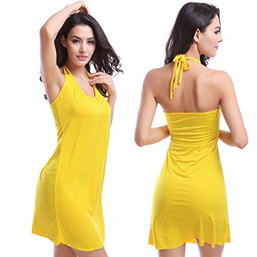SHISHANG playa de las mujeres de la falda Europa y los Estados Unidos de la manera que cuelga del cuello de la falda del bikini playa fuera de la blusa de los plisados ??de peluche multicolor Yellow