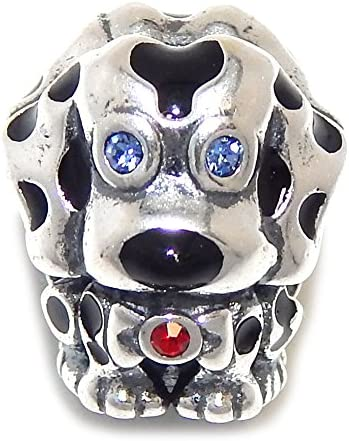 925 Sterling Silver Dalmatian with Blue and Red CZ Charm Bead