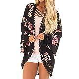 Clearance! Gallity Women Fashion Smock Chiffon Flower Print Lace Coat Tops Suit Kimono Cover Cardigans (M, Black)