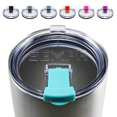 NEW Spill Proof Lid for 30 oz YETI Rambler Tumbler, RTIC, Ozark Trail, and other 30oz stainless steel tumblers | Colored splash proof and leakproof travel lids (Seafoam Blue)