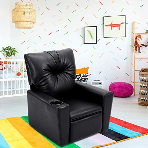 (Costzon Kids Recliner Chair Manual PU Leather Reclining Seat w/Cup Holder (Black))