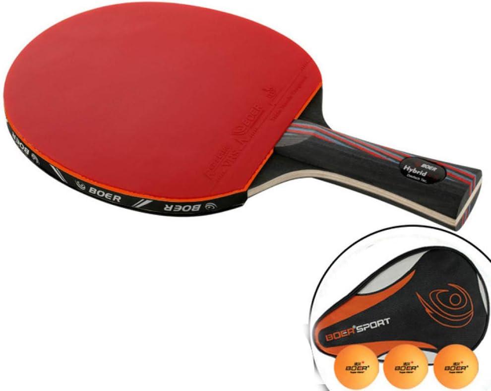 MOOLIGIRL Longitud de la Raqueta de Tenis de Mesa con Sistema de Carbono Profesional 9.8 y Raqueta de Raqueta de Tenis de Mesa de Mango Corto con Bolsa
