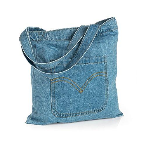 Blue Denim Front Pocket Design Tote Bag Shopper Bag Shoulder (Design Front Pocket Tote)