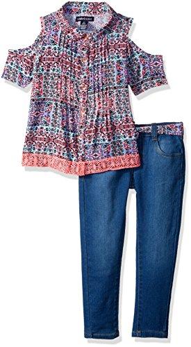 (Limited Too Girls' Little Fashion Pant Set, Pintuck lace top Stretch Capri Medium Blue Denim, 4)