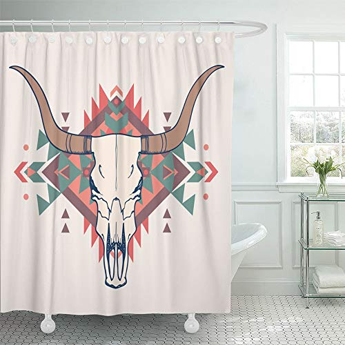 Emvency Shower Curtain Set Waterproof Adjustable Polyester Fabric Longhorn of Bull Skull with Ethnic Steer Head Cow Buffalo Geometric Animal 72 x 78 Inches Set with Hooks for Bathroom