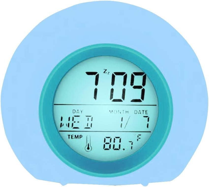 YUES Reloj Despertador para niños, Reloj Despertador con luz LED Digital con 6 Sonidos Naturales y 8 Luces nocturnas Que cambian de Color-Azul