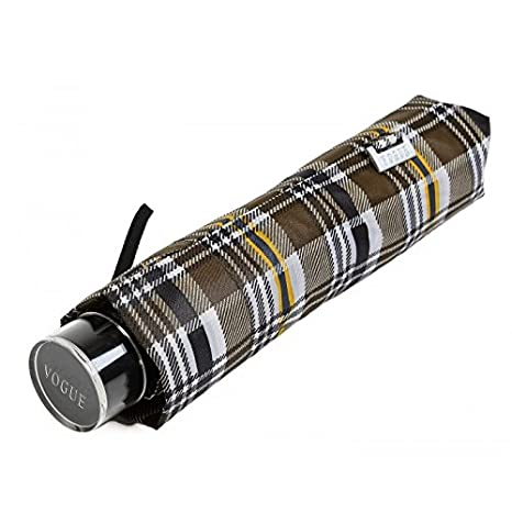 Paraguas Plegable a Cuadros marrón Paraguas Vogue. Sistema Anti Viento