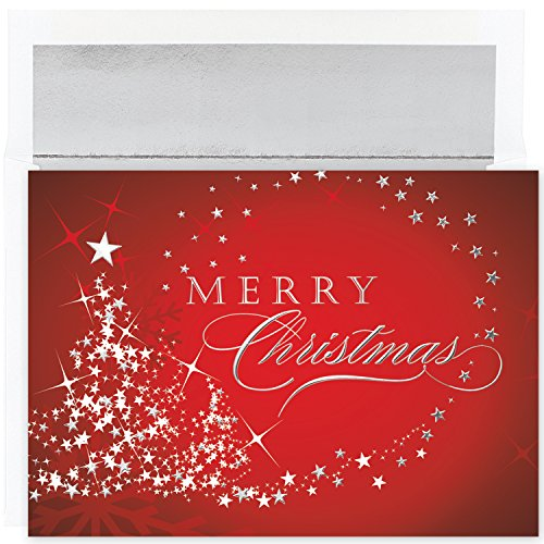 Masterpiece Studios Stationery (Masterpiece Studios Century Boxed Holiday Cards, Merry Christmas Sparkles, 16 Cards/16 Foil-Lined Envelopes)