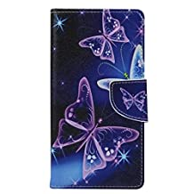 "Alcatel Case, Chinstyle Alcatel ONETOUCH IDOL 3 5.5"" Case PU Leather Wallet Case [Magnetic Closure] Fantasy Stars Butterfly Pattern Flip Cover"