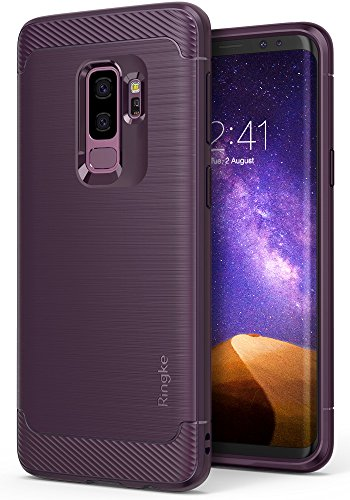 (Ringke Onyx Compatible with Galaxy S9 Plus Case Brushed Metal Design [Flexible & Slim] Dynamic Stroked Line Pattern Durable Anti Slip Impact Shock Absorbent for Galaxy S9 Plus - Lilac Purple)