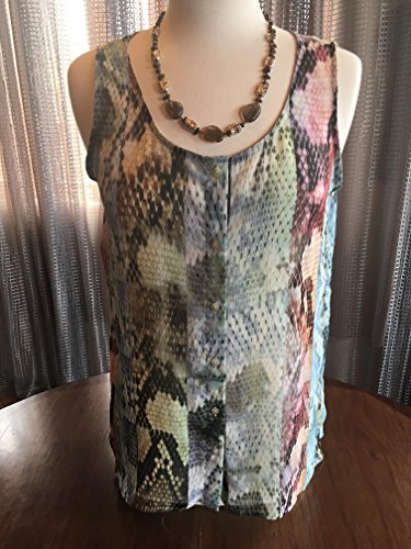 Custom Couture M Multi colored snake print blouse with smoky quartz custom necklace 1396