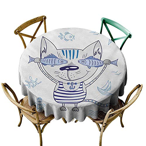 Wendell Joshua Round Vinyl Tablecloth 36 inch Fish,Naughty Cat with Fish in Striped T-Shirt Anchor Pendant and Nautical Maritime Sign,Blue Grey 100% Polyester Spillproof Tablecloths for Round Tables
