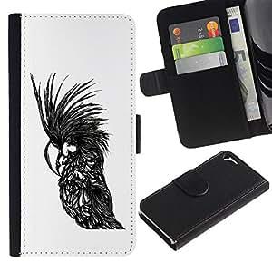 ARTCO Cases - Apple Iphone 5 / 5S - Cute Parrot Illustration - Cuero PU Delgado caso Billetera cubierta Shell Armor Funda Case Cover Wallet Credit Card