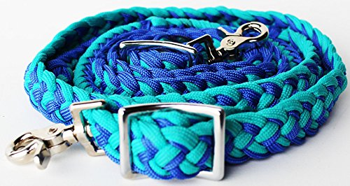 ProRider Horse Roping Western Barrel Reins Turquoise Blue Nylon Braid Knotted Rein 60785