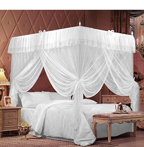 IFELES 4 Corners Bed Canopy Twin Full Queen King Mosquito Net (CALIFORNIA KING)