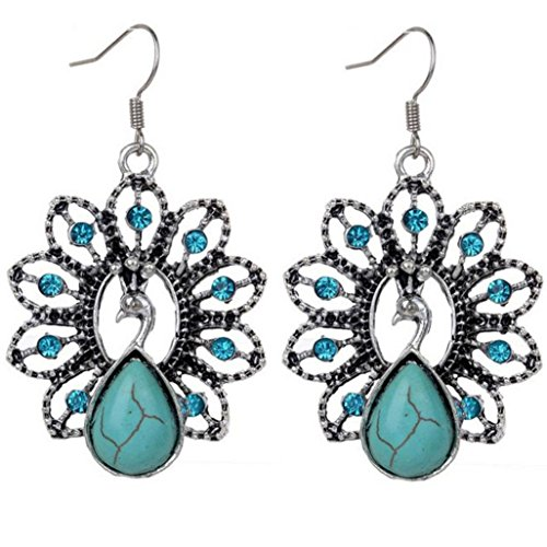 - Clearance Deal! Hot Sale! Earring, Fitfulvan 2018 Bohemia Vintage Peacock Turquoise Earrings Delicate Carved Hollow Jewelry (Multicolor)