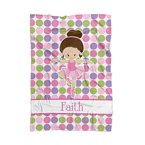 Ballet Blanket - Pink Dot Ballerina Personalized Name Blanket by PurpleBerryInk