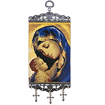 Religious Gifts Catholic Orthodox Madonna and Child Christ Tapestry Icon Banner With Crosses 9 3/4 Inch