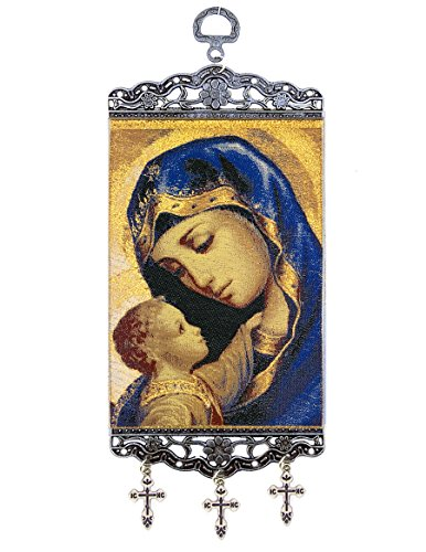 Religious Gifts Catholic Orthodox Madonna and Child Christ Tapestry Icon Banner With Crosses 9 3/4 Inch by Religious Gifts