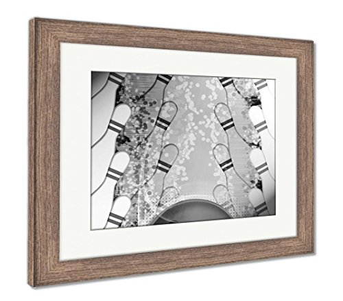 Ashley Framed Prints Bowling, Wall Art Home Decoration, Black/White, 34x40 (Frame Size), Rustic Barn Wood Frame, AG5019814