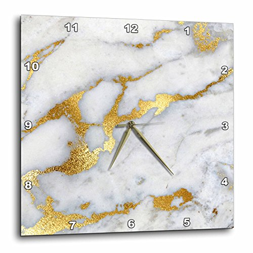 3dRose Image of Luxury Grey Gold Gem Stone Marble Glitter Metallic Faux Print 15 by 15 inches Wall Clocks, 15x15