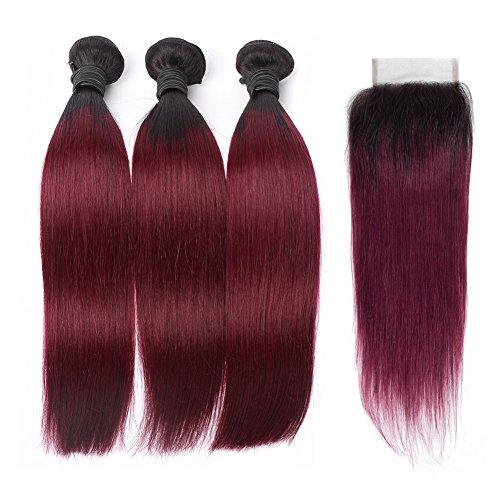 HC Hair Peruvian Omber Hair Straight Human Hair 3 Bundles With Lace Closure Free Part #1B/99J Hair Extensions Burgundy Virgin Human Hair Bundles (12 14 16 with 10inch)