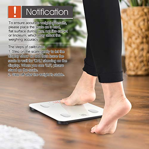 Large Product Image of Bluetooth Body Fat Scale, FITINDEX Smart Wireless Digital Bathroom Weight Scale Body Composition Analyzer Health Monitor with iOS and Android APP for Body Weight, Fat, Water, BMI, BMR, Muscle Mass