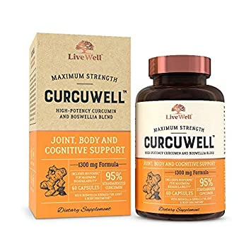 CurcuWell – Maximum Strength Joint, Body and Cognitive Support High-Potency Curcumin and Boswellia Blend – 30 Day Supply