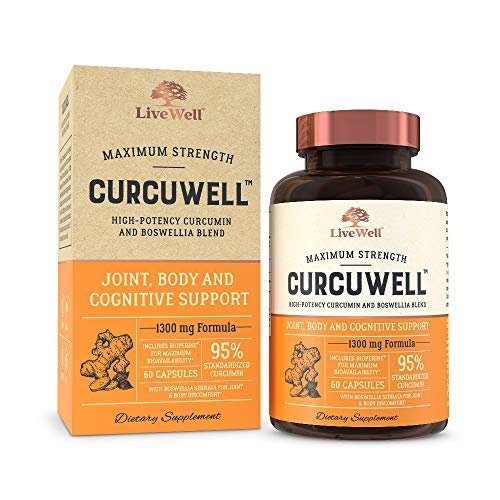 CurcuWell – Curcumin and Boswellia Blend Maximum Strength Joint, Body and Cognitive Support – 30 Day Supply
