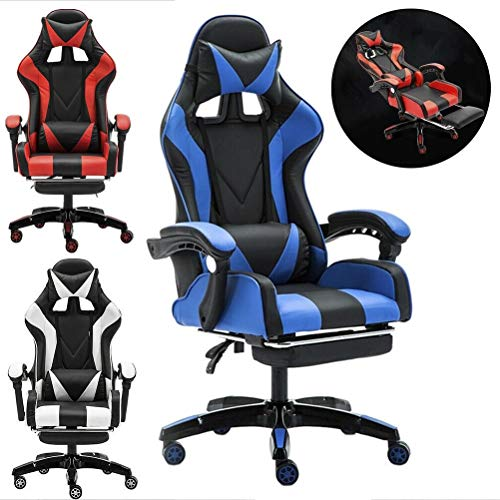 KEANTY Ergonomic Computer Office Racing Gaming Chair Large Size PU Leather High Back Widen Thicken Seat Retractable Footrest Lumbar Support (Blue) Story of Next Day