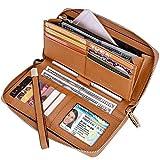 Itslife Women RFID Blocking Wallet Leather Zip Around Phone Clutch Large Travel Purse Wristlet (Light Brown)