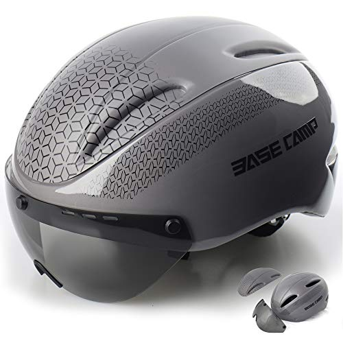 (BASE CAMP Cycling Bike Helmet with Removable Shield Visor - Adjustable Adult M Size 21.75-23.5 Inches)