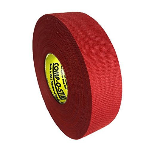 Comp-O-Stik ATHLETIC TAPE (Hockey Lacrosse Stick Tape, Baseball Bat Tape) Made In The U.S.A. (Red, 1