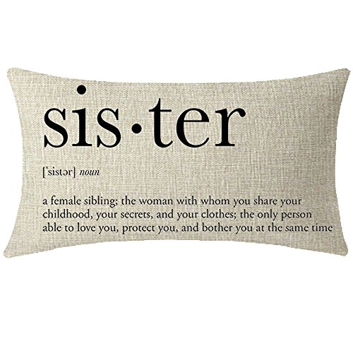 NIDITW Great Sister Birthday Gift from Sister Brother with Sweet Warm Quote Beige Waist Lumbar Cotton Linen Cushion Cover Pillow Case Cover Home Chair Couch Decor Rectangular 12x20 inches