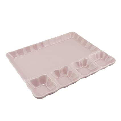 Fondue Plato Microondas cerámica plato Grill DIPP Plato Postre Cuenco para salsas, Rosa, 6
