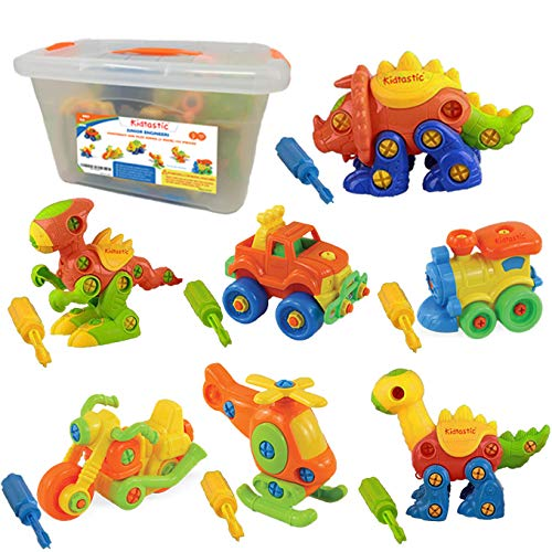 Kidtastic Set of 7 Take Apart Toys, Dinosaurs, Helicopter, Train, Truck, Motorcycle, STEM Building Set, Engineering Kit for Boys, Girls, Toddlers, Age 3, 4, 5 Year Old