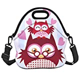 Cute Owl Lunch Tote Bag Insulated Lunch Box Waterproof with Adjustable Detachable Strap Picnic Lunch Bag Mom Bag