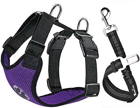 SlowTon Dog Arn/és para el autom/óvil con cintur/ón de Seguridad Multifunci/ón Ajustable Traje de Malla Transpirable Doble Correa de Seguridad Regular con cintur/ón