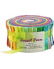 Fossil Fern Brights Pinwheel 40 2.5-inch Strips Jelly Roll by Benartex