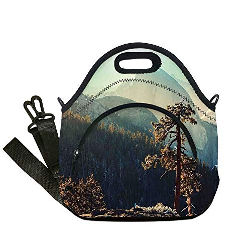 Insulated Lunch Bag,Neoprene Lunch Tote Bags,Yosemite,Yosemite National Park From the Top of Mountain Misty Morning Landscapes Photo,Teal Brown,for Adults and children ()