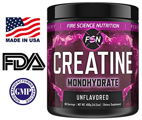 Fire Science Nutrition: 100% Creatine Monohydrate - NO Added Sugars or Fillers - Boost Muscle Growth, Increase Strength - Made in the USA - 80 Servings