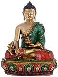 Kapasi Handicrafts Brass Stone Work Buddha Sitting Idol, 27 cm x 18 cm x 34 cm