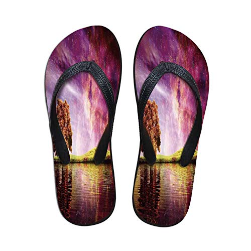Magical Comfortable Flip Flops,Supernatural Sky Scenery with Mystical Northern Solar Theme and Star Clusters Photo for Pool Garden,US Size 8