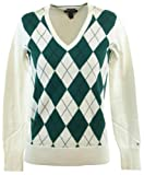 Tommy Hilfiger Womens Argyle Pima Cotton Sweater - L - White/Green