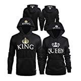Bangerdei Matching Couple King and Queen His and Her Hooded Sweatshirt Pullover (Women L + Men 2XL, Black)