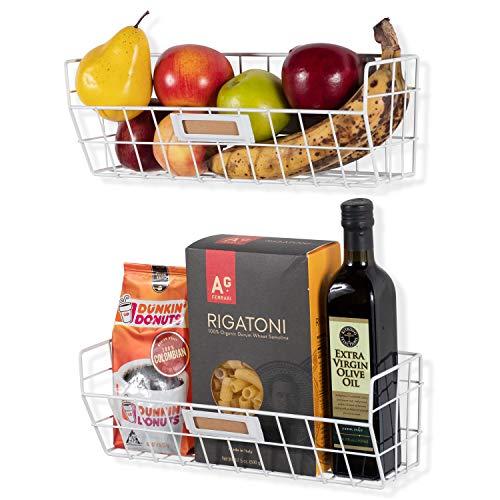 Wall35 Macon Wall Mounted Kitchen Storage Metal Wire Fruit Basket Set of 2 (White)