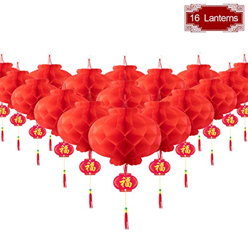 16 Pieces Chinese Round Hanging Red Paper Lanterns Decorations for 2020 New Year Spring Festival Party Decor, Wedding and Restaurant