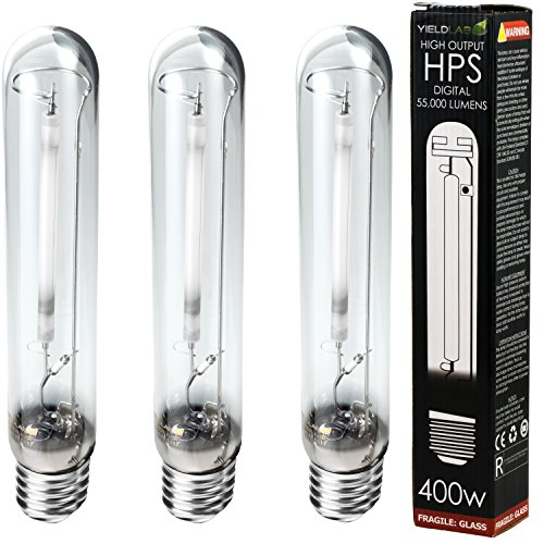 Yield Lab 400w High Pressure Sodium (HPS) Digital HID Grow Light Bulb (2100K) – 3 Bulbs – Hydroponic, Aeroponic, Horticulture Growing Equipment