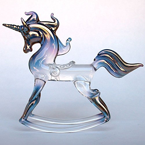 Rocking Unicorn Figurine of Hand Blown Glass